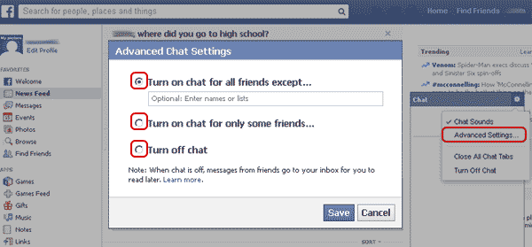Facebook Advanced chat settings