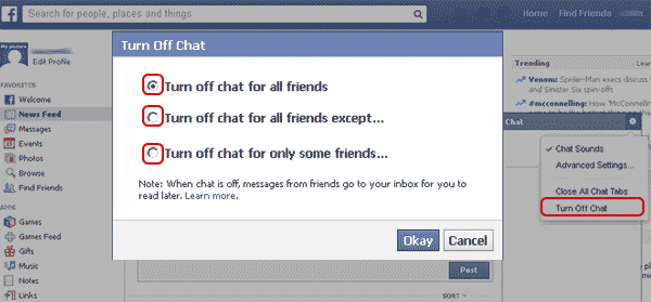 Facebook Turn off chat